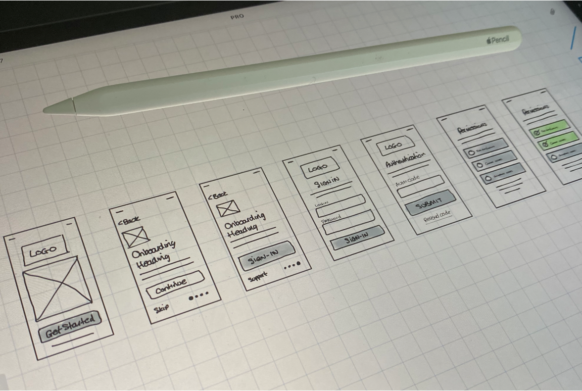 Wireframe sketches for the app onboarding flow